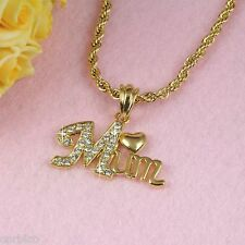 18K Gold Filled Mum Pendant Necklace Made with Swarovski Crystals in Gift box