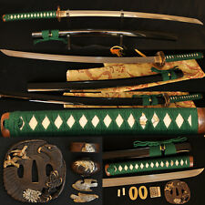 Clay Tempered Folded Steel Blade Hawk Tsuba Japanese Samurai Sword Katana SHARP