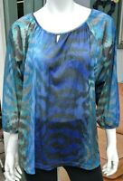 Chico's Blue Women Top Tunic - 3/4 Sleeve Pullover 3
