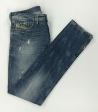 Men's Faded Blue Wash Diesel Jeans W36 L35 Thanaz Slim Skinny Distressed A