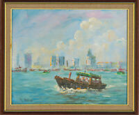 Ray Melhop - Framed 1982 Oil, View of Singapore