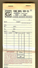FUNKS Seed Corn Order Book,Funk Sales Ticket,Bloomington,IL,Belle Plaine,Iowa IA