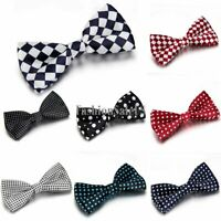 Classic Tuxedo Bowtie Men's Adjustable Wedding Bow Tie Polka Dot Grid Pattern