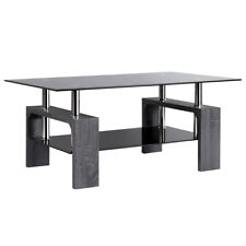 Black Glass Coffee End Side Table w/ Shelf Living Room Furniture Simple Design