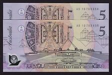 Five Dollars $5 Banknote 1992 R214i pale green serial consecutive pair UNC
