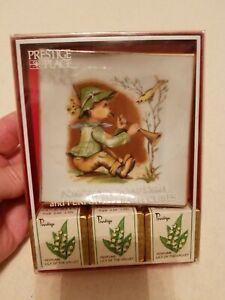 Vintage Prestige Place Porcelain Soap Dish and Perfumed Bath Cubes Boy Bird Horn