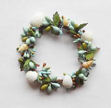 Great Finds Pillar Candle Ring  ~  Cream Shells / Aqua / Green  ~  NEW
