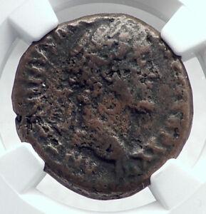 ANTONINUS PIUS Rome STATUE OF EMPEROR TEMPLE Ancient Roman Coin NGC i81353