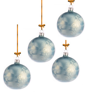 Set 8cmx9pcs Handmade Light Blue Frozen Glass Baubles Christmas Tree Decorations