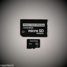 Memory Stick Pro Duo Adapter + SANDISK 8gb MICROSD SDHC per dispositivi SONY PSP NUOVO