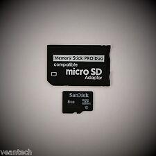 Memory Stick PRO Duo Adapter + Sandisk 8GB microSD SDHC für SONY Geräte PSP NEU