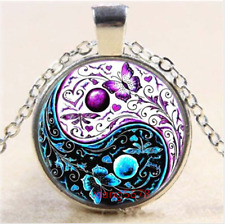 Tibet Silver Chain Pendant Necklace 2pcs Yin and yang gossip Cabochon Glass