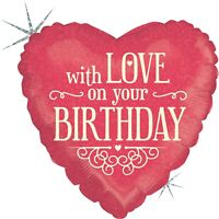 """Betallic """"With Love On Your Birthday"""" Holographic Heart Shaped Balloon- 18"""""""