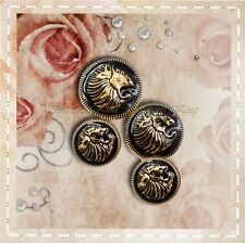 Set 8pc. Metal buttons Gold & Black Head Lion Hand painting oil size 25mm