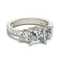 2.00 Ct Princess Cut VVS1 Diamond Engagement Wedding Ring Solid 14k White Gold