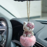 Cute Rhinestone Crystal Hello Kitty Auto Car Pendant Pompom Real Fur