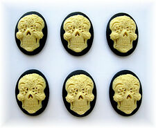 6 Goth Punk Day of Dead IVORY color SUGAR SKULL on BLACK 25mm x 18mm CAMEOS LOT