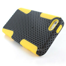 Yellow Black APEX Hybrid Gel Perforated Hard Mesh Case For iPhone 5S 5 w/Film