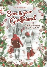 Special SON AND GIRLFRIEND - Quality Large CHRISTMAS CARD Snow scene Design
