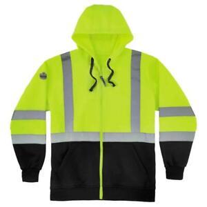 Ergodyne GloWear Men's 3X Large Lime and Black Class 3 Zip-Up Hi-Vis Hooded Swea
