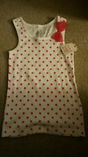 FADED GLORY NWT GIRLS TANK TOP WHITE WPINK DOTS  AND PINK BOW SIZE MEDIUM 7 8
