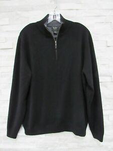 Neiman Marcus Men's Black 100% Cashmere 1/4 Zip Pullover Sweater L