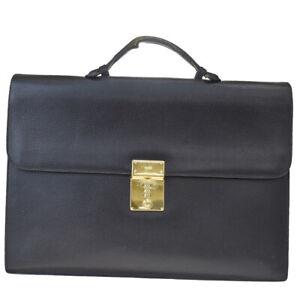 Auth Gucci Leather Briefcase Black 03GC674