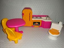 Fisher Price MY FIRST DOLLHOUSE Kitchen Dining Room Bathroom Accessories Toilet