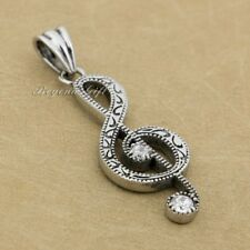 Music Note 316L Stainless Steel Musical Treble G Clef Symbol Charm Pendant 7E005