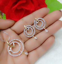 Round Pendant American Diamond Necklace Earrings Set For Women Gift