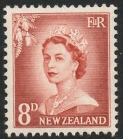 S3 NZ 1955 QE2 LARGE FIGURES 8d BROWN ; MINT , NEVER HINGED