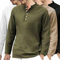 Men Casual Cotton Linen Shirt Long Sleeve Henley Button Collar Tshirt Men Clothe