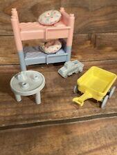 💥Vintage Playskool Victorian Dollhouse pink Blue Bunk Beds kids room complete