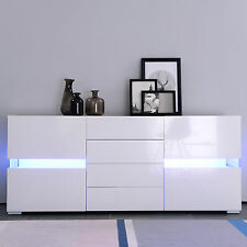 177cm Modern High Gloss LED Sideboard Cupboard Cabinet Unit with Drawers, Doors
