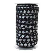100 Yard Spool - Fold Over Elastic - Black and Silver Metallic Snowflake - 5/8in