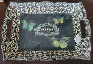 """Home Accent W-14 Let Your Dreams Fly Butterfly Tray, Hobby Lobby, NEW, 15"""" x 12"""""""