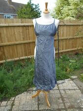 Fab Gun Metal Grey 100% Silk Dress Size 8 Warehouse with Silver Thread  & Beads