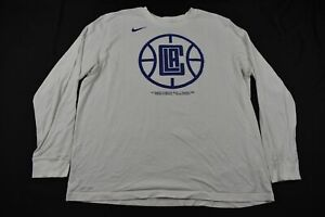 Los Angeles Clippers Nike Long Sleeve Shirt Men's White Cotton Dri-Fit Used 2XL