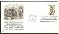 US SC # 1984 State Birds And Flowers ( New York ) FDC. Artcraft Cachet .