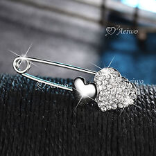 18K WHITE GOLD GF SPARKLING CLEAR CRYSTAL HEART PIN BROOCH