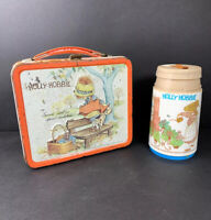 Vintage 1981 Holly Hobbie Metal Lunch Box & Thermos Aladdin Orange Fall Design