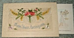 WW1. SILK POST CARD    FL0WERS  FROM YOUR LOVING SON