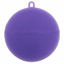 Purple Round Silicone Dish Bowl Cleaning Brush Scouring Pad Kitchen Washing Tool