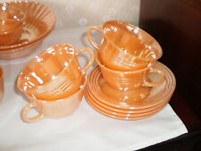 2 SETS OF PEACH LUSTER FIRE KING CUPS AND SAUCERS  - 3-BAND