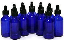 12 Pack of Cobalt Blue, 2 oz, Glass Bottles, with Glass Eye Droppers NEW !
