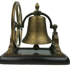 Vintage Maritime Nautical Pulley Wheel Brass Ship Boat Bell Desk Office Decor