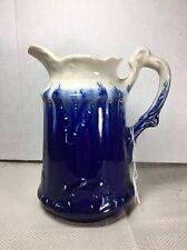 "Vintage Flow Blue Stoneware Glazed Milk Pitcher Blue & White 6.5"" Tall Antique"