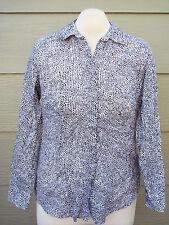 Coldwater Creek No Iron Woman Shirt Sz XL 16 40B Black White Lizard Snake Skin