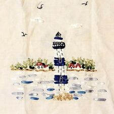 Vintage Linen Table Runner Curtain Valance Embroidery Ribbon Seaside Lighthouses