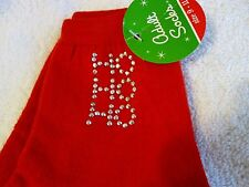 New Women's Christmas Ho Ho Ho rhinestone studded socks 9-11